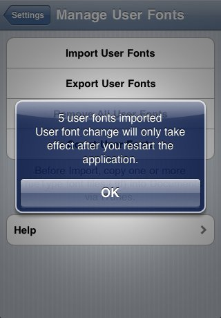 User Fonts Imported
